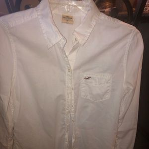 White Button Down Hollister Shirt Sm/med